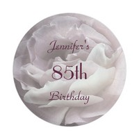 Pale Pink Rose Paper Plates, 85th Birthday Party Paper Plate