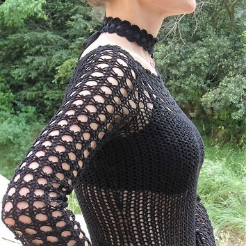 Top long sleeves crocheted crochet coton lace gothic steampunk victorian handknitted black lace