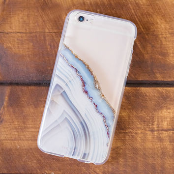 Light Blue Agate Clear IPhone Case (Light Blue)