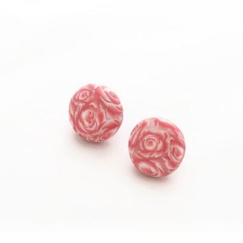Pink Stud Earrings - Polymer Clay Earrings - Dusty Pale Pink - Millefiori Rose Flowers - 18mm - Bespoke Design