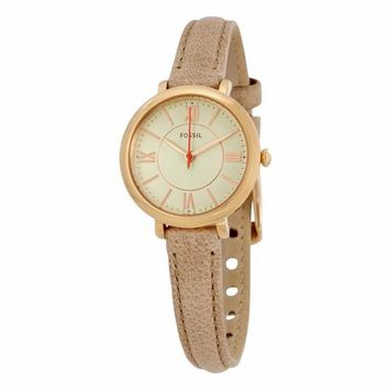 Fossil Womens ES3802 Gold Case with Tan Leather Strap Watch