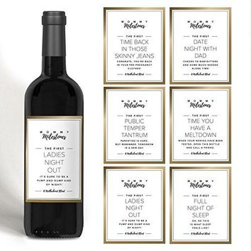 Gift for New Mom Mommy Milestone Wine Bottle Labels for New Mom Mommytobe or friend Gold set of 5 wine labels Perfect for Baby Shower Motherrsquos Day or Gift for Mom from Bliss Paper Boutique