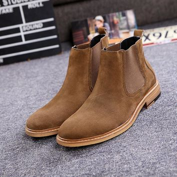 Men's Luxury Brand Vintage Genuine Leather Chelsea Boots Men West Boots New Fashion Se