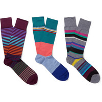 Paul Smith Shoes & Accessories - Three-Pack Striped Cotton-Blend Socks   MR PORTER