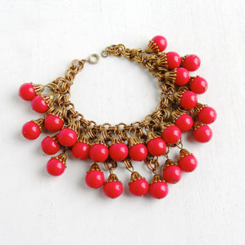 Antique Brass Red Lucite Beads Linked Bracelet- Vintage 1930s Art Deco Czech Statement Costume Jewelry
