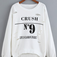 White Letter Print Ripped Long Sleeve Sweatshirt