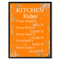Kitchen Rules Saying Canvas Print, Black Picture Frame Home Decor Wall Art Gifts