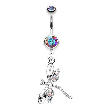 Dragonfly Wing Sparkle Belly Button Ring
