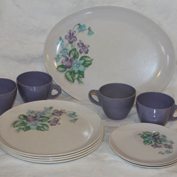 Vintage Melmac Royalon Dishes- Plastic- Purple- Floral- Blue- Purple- Green- 12 Piece Set- Cups- Plates- Saucers- Platter- Retro Dinnerware