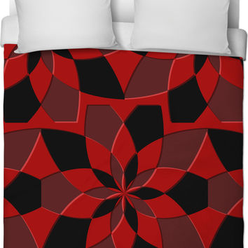 Abstract geometric pattern duvet cover, red and black tiles, curves