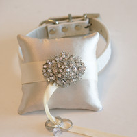 Ivory Ring Pillow attach to Leather Collar, Dog ring bearer