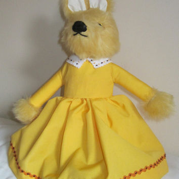 Fantasy Fox Toy Yellow Plush Dressed Cuddly Animal Art Doll Ltd EditionToy Collectable Girl or Adult Companion Unusual Christmas Present