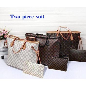 LV Louis Vuitton Hot ! Stylish Women Shopping Leather Handbag Shoulder And Purse Wallet A Set Two-Piece I