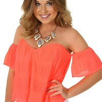 The Bright Side Crop Top: Neon Coral - What's New