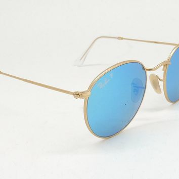 Ray Ban 3447 112/4L ROUND FLASH Sunglasses Gold/Polar Blue Mirror ITALY B7/25