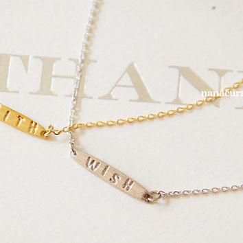 "Tiny ""Faith"" Charm Necklace, Hipster Charm Necklace, Necklaces, Gold Plated Necklace, Bar Necklace, Tiny Bar, Dog Tag, Minimal Jewelry"