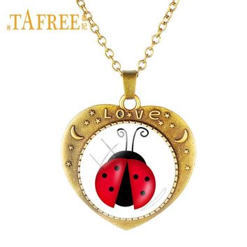 TAFREE Red and Black Ladybug Necklaces Vintage Love Heart Charms Cartoon insect Ladybird For Kids Girl Boy Jewelry Gift LB41