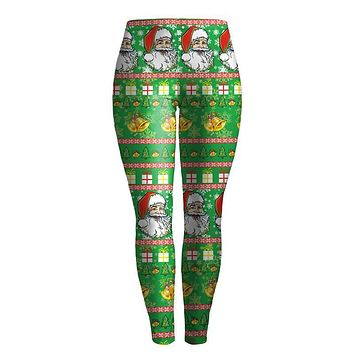 Santa Claus Printed Ugly Christmas Leggings for Women Cute Girls Elastic Fitness Legging Black Red Green Plus Size S-XL