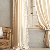 Embroidered Aravalli Curtain by Anthropologie in Taupe Size: