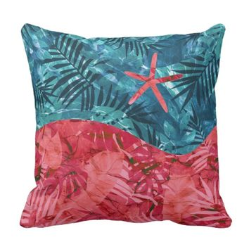 Summer Beach Tropical Pattern Throw Pillow