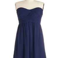 ModCloth Strapless A-line Flirting with the Idea Dress in Navy - Plus