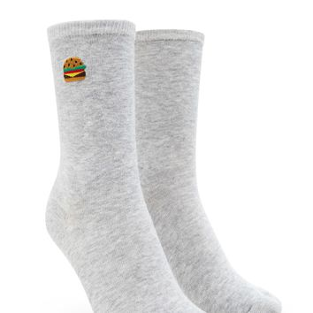 Cheeseburger Print Crew Socks