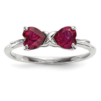 14k White Gold Created Ruby 2- Stone Heart Bow Ring