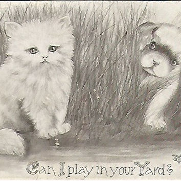 "Antique Postcard ""Can I play in your Yard?"" Artist Signed Vincent V Colby Copyright 1909 Kitten & Puppy"