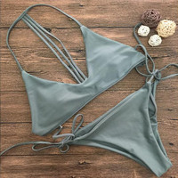 Strappy Halter Solid Color Beach Bikini Set Swimsuit Swimwear
