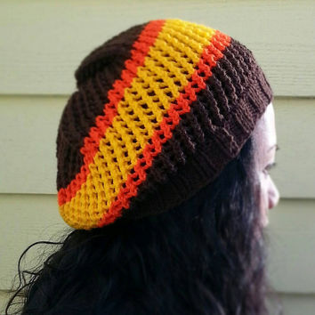 San Diego Padres Inspired Hand Knit Mesh Slouchy Hat in Brown Yellow and Orange