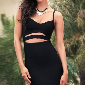 Black Cut Out Bandage Dress with Spaghetti Straps