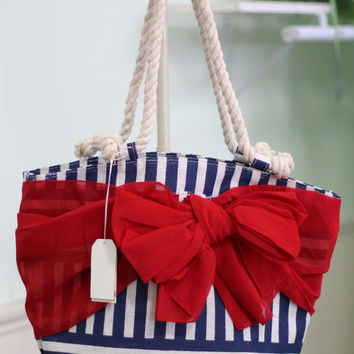 Sarong Along Tote Bag {Navy Stripe}