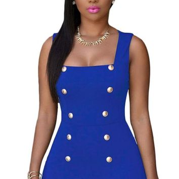 Royal Blue Gold Buttons Romper
