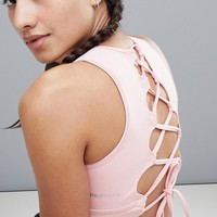 Only Play Lace Up Yoga Bra at asos.com