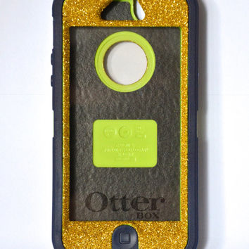 Otterbox Case iPhone 5 Glitter Cute Sparkly Bling Defender Series Custom Case Gold/  Navy Blue