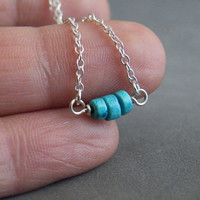 Turquoise Necklace Small Rondelle Turquoise Minimalist Necklace December BirthstoneJewelry by SteamyLab