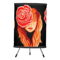 Custom Serenity woman portrait with rose Tripod Lamp