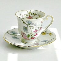 "Royal York China ""Figaro"" Demitasse Cup & Saucer, Hohenberg Bavaria Germany, Floral, Pastel Flowers"