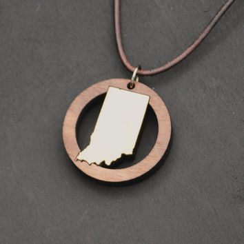 Indiana State Necklace with option for Custom Personalization