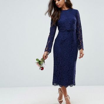 ASOS PETITE WEDDING Long Sleeve Midi Pencil dress at asos.com