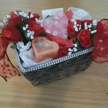 Decorative Gift basket with homemade soaps