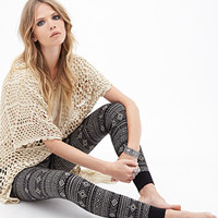 FOREVER 21 Geo Striped Knit Joggers Black/Taupe