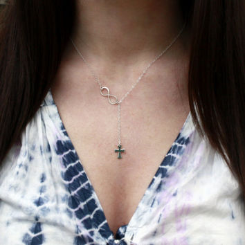 Cross and Infinity Lariat - Sterling Silver Infinity Cross Necklace . Faith Forever . Sevgi Charms
