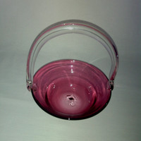 Cranberry Glass Basket Art Glass Bowl