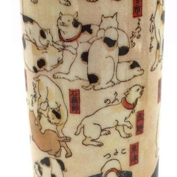 Cats Doing Everyday Activities Japanese Tealight Candleholder by Kuniyoshi 5.75H