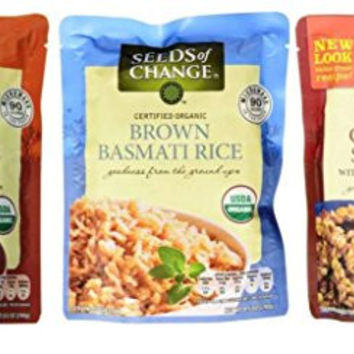 Seeds of Change Organic Heat & Eat Rice Side Dish 3 Flavor Variety Bundle: (1) Quinoa & Brown Rice w/Garlic, (1) Brown Basmati Rice, and (1) Caribbean Style Brown Rice & Red Beans, 8.5 Oz Ea (3 Tot)