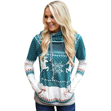 Mint Snow Reindeer Double Hooded Sweatshirt