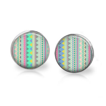 Aztec Earrings Tribal Earrings Pastel Pattern Print Glass Studs Geometric Line Art Earrings Colorful Pastel Post Earrings Silver Turquoise