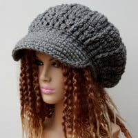 Slouchy Newsboy Visor Tam Gray or you choose color custom Hippie brimmed beanie Hat