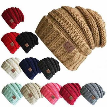 Unisex Winter Knitted Hat Woolen Cap Casual Hats CC Label Beanies Hat Solid Color